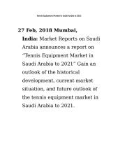 Tennis Equipment Market in Saudi Arabia to 2021.doc